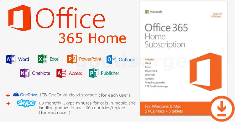 MS Office 365 Home 6 MONTHS License Key for 5 PC / MAC & 5 ...